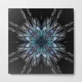 Crystal Blue Mandala Metal Print