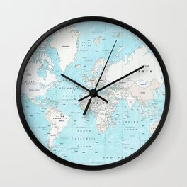 World's Oceans Bathymetry Map Wall Clock