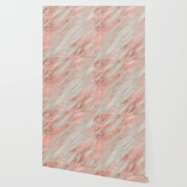 Smooth rose gold on gray marble Wallpaper