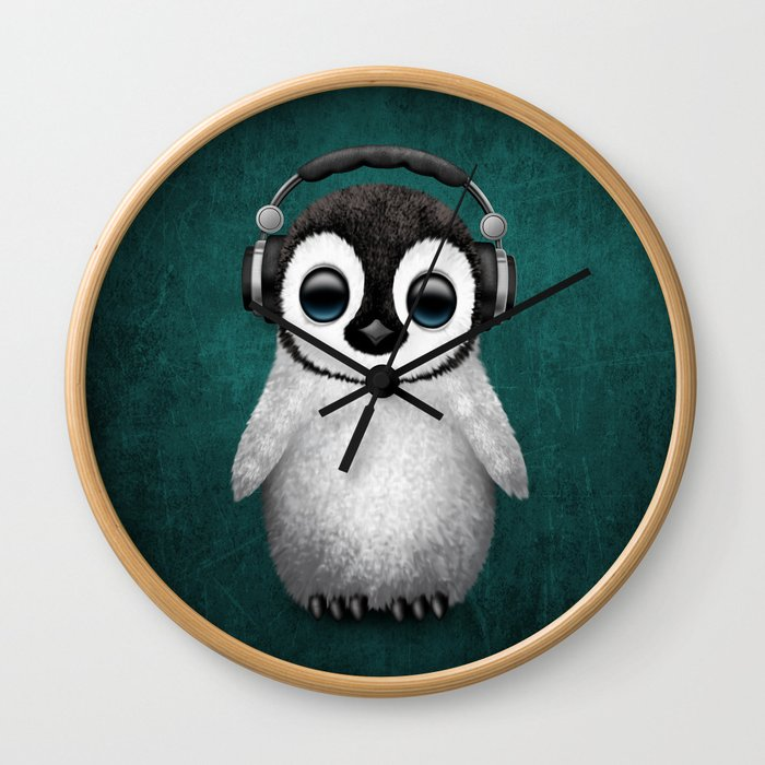 Cute Baby Penguin Dj Wearing Headphones on Blue Wall Clock