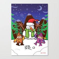 Christmas Snowman and Children Canvas Print
