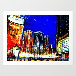 Chicago Nights Downtown Art Print