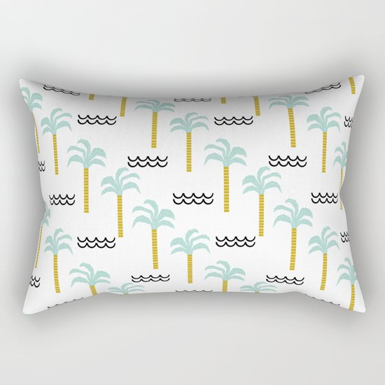Palm Tree tropical island vacation wave water socal hawaii beach life salt life chilled out vibe Rectangular Pillow