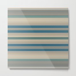 Blue Green Neutral Stripes Metal Print
