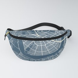 New Orleans Blueprint Street Map, New Orleans Colour Map Prints Fanny Pack