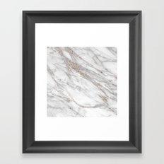 Pink Rose Gold Blush Metallic Glitter Foil on Grey Marble Framed Art Print