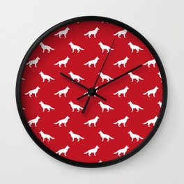 German Shepherd silhouette red and white minimal dog breed pattern dogs dog art Wall Clock