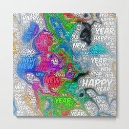 WordArt Happy new year Metal Print