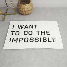 Do the Impossible Typography Print in White Rug