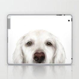 Golden Retriever WhiteDog illustration original painting print Laptop & iPad Skin
