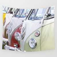 volkswagen Wall Tapestries featuring Old Volkswagen Splitty Buses by Premium