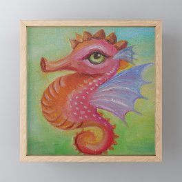 Baby Dragon Sea Horse Ice Cream color book illustration for kids Oil painting on canvas Pastel color Framed Mini Art Print