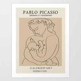 Picasso Woman - breast feeding Art Print