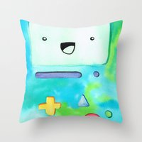 bmo Throw Pillows featuring BMO by Lauren Reed Art