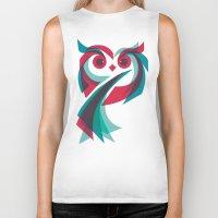 owl Biker Tanks featuring Owl by Jay Fleck