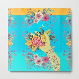 FLOWERS IN HAND Metal Print