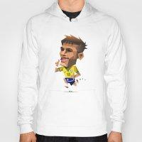 neymar Hoodies featuring Minirobguns Neymar by Robin Gundersen