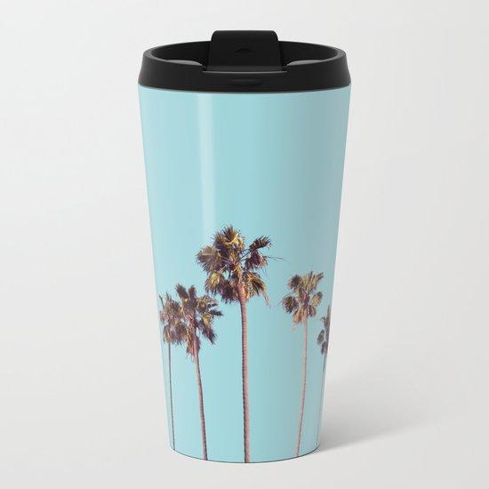 palm trees turquoise Metal Travel Mug
