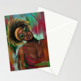 Tropical Afro Girl Stationery Cards
