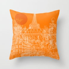 Paris! Orange Sun Throw Pillow
