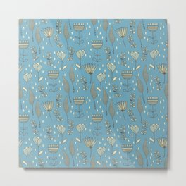 phantasie-fowers on blue Metal Print