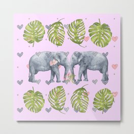 I Will Never Forget - Elephant Watercolor - Bagaceous Metal Print