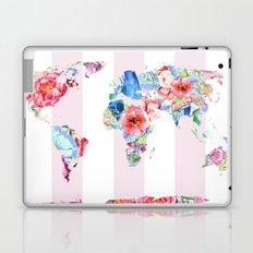 Floral World - Pink Stripe Laptop & iPad Skin