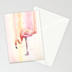Flamingo Watercolor | Pink Rain Stationery Cards