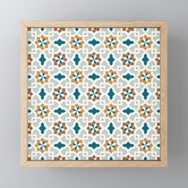 Geometric Pattern, oriental style (nature color set)  traditional morocco tile pattern Framed Mini Art Print