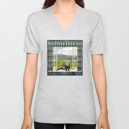 Back Home Ferret Countryside Landscape Unisex V-Neck