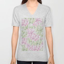 Blush pink green hand painted watercolor floral Unisex V-Neck