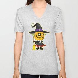 Halloween pumpkin witch Unisex V-Neck