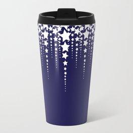 Falling Stars on Dark Blue Sky - Christmas Illustration Travel Mug