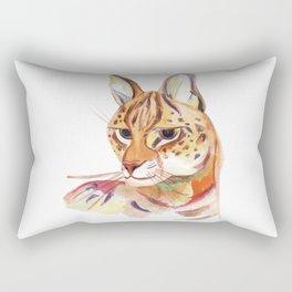 Serval wild cat watercolor Rectangular Pillow
