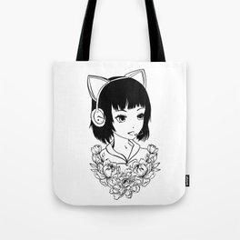 Gamer girl black and white line art Tote Bag