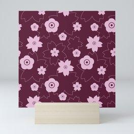 Sakura blossom - burgundy Mini Art Print