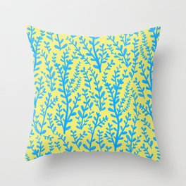 Yellow and Blue Floral Leaves Gouache Pattern Throw Pillow