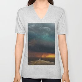 Riders on the Storm (Route 66) - The Loneliest Road in America Unisex V-Neck