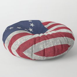 Betsy Ross flag, distressed textures Floor Pillow