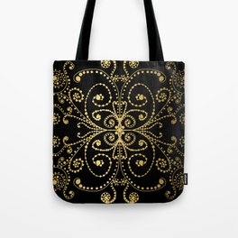 Black and Gold Swirls and Dots Doodle Graphic Design Tote Bag