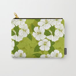 Green Hibiscus Pattern Carry-All Pouch