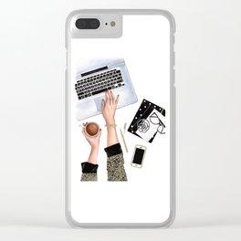 Fashion Illustration Fashion wall art Fashion sketch Girl boss Fashion clipart American girl Clear iPhone Case