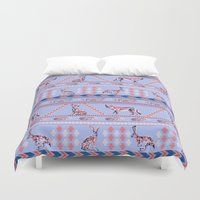 howl Duvet Covers featuring Geometric Howl by Strange Charm