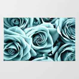 Blue Turquoise Roses Rug