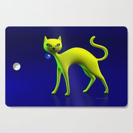 The Yellow Cat And Glass Blue Cherry Cutting Board