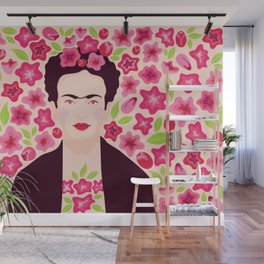 Frida Kahlo in flowers Wall Mural