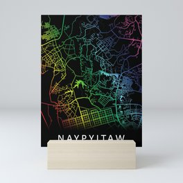 Naypyitaw, Myanmar, City, Map, Rainbow, Map, Art, Print Mini Art Print