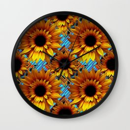 GOLDEN  ART DECO SUNFLOWERS TURQUOISE ART Wall Clock
