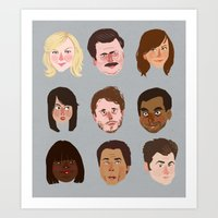 parks and rec Art Prints featuring Parks and Rec by Emma Ehrling