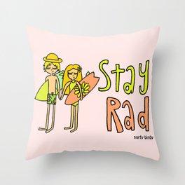 Stay Rad Surfy Birdy Valentine Surf Art Throw Pillow